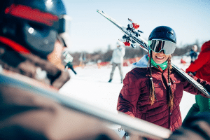 skiers with googles to prevent snow blindness