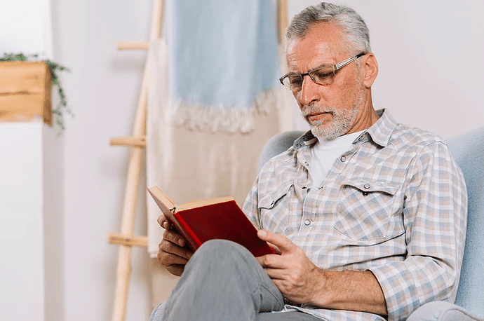 Men wearing glasses and reading