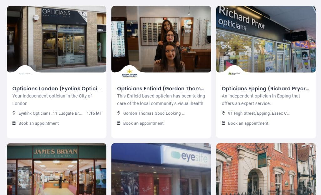 book an eye test search results